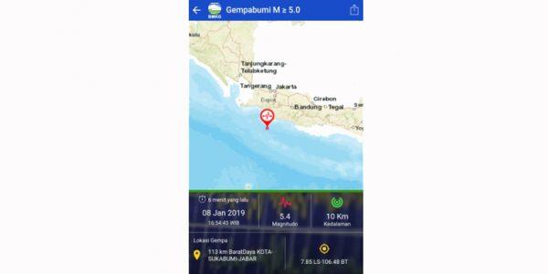 Gempa 5.4 Magnitudo Wilayah Sukabumi, Sampai Terasa di Bandung